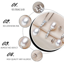 925 sterling silver jewelry sets 100% Genuine Freshwater Pearl (4 Colors)