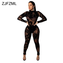 купить Bamboo Leaf Sheer Mesh Sexy Black Bodysuit Women Long Sleeve Perspective Bodycon Jumpsuit Casual O Neck Night Club Party Catsuit дешево