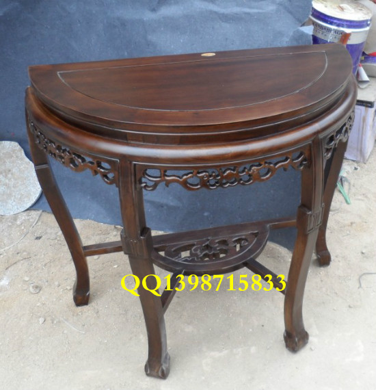 Special Half  Round Table Antique Altar Table Crescent Buddha Altar Table  Vestibule Old Elm Wood