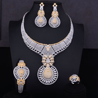 GODKI New Luxury 2 Tone Gold Silver Mixed Women Nigerian Wedding Naija Bride Cubic Zirconia Necklace Dubai 4PCS Jewelry Set