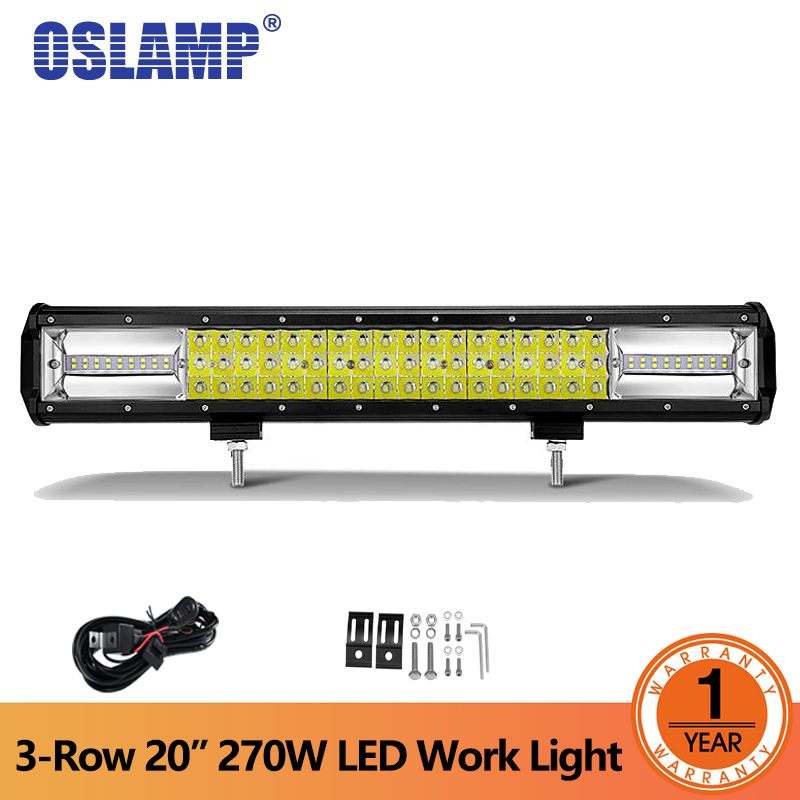 Oslamp Tri-row 20inch 270W LED Work Light Bar Offroad 4x4 Driving Lamp Combo Beam for Jeep Truck SUV ATV 4WD Led Bar DC 12V 24V high power 4d 180w led work light bar single row 29 3inch car lamp for offroad 4x4 truck atv suv 4wd combo beam driving fog lamp