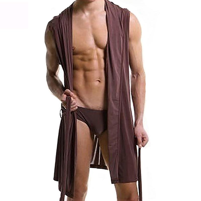 New Fashion Men Sexy Summer Sleeveless Sleepwear Robe Hooded Bathrobe Casual Pajamas