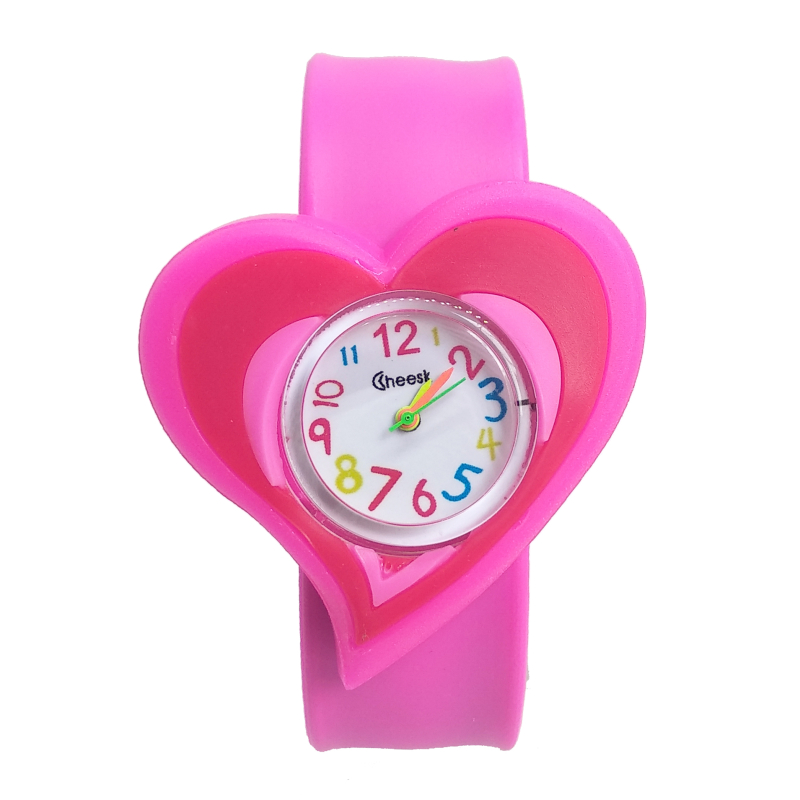 New Soft Silicone Love Heart Type Watches Children Kid Quartz Watch Sport Casual Bendable Rubber Strap Watch For Girls Boys Gift