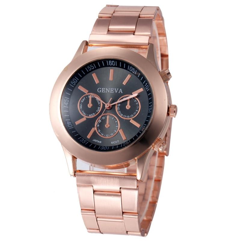 Excellent Quality Woman Watches Brand Geneva Gold Stainless Steel Diamond Dress Women Quartz Wristwatch Elegant Lady Clock