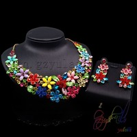 Flower crystal necklace jewelry set artificial bridal jewellery set great wedding gift