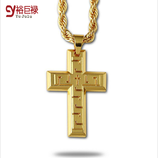 2016 hip hop thick gold chains for men gift 24k gold cross pendant 2016 hip hop thick gold chains for men gift 24k gold cross pendant men long chain aloadofball Images