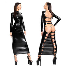 Vocole Black Faux Leather PVC Wet Look Backless Long Dress Sexy Clubwear Erotic Fetish Vinyl Long Sleeve Nightclub Dance Dress