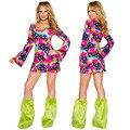 Хэллоуин Sexy Хиппи Женщины Косплей Одежда Европейских и Американских Женщины Любят Платья Красочные С Длинными рукавами Fun Косплей Одежда
