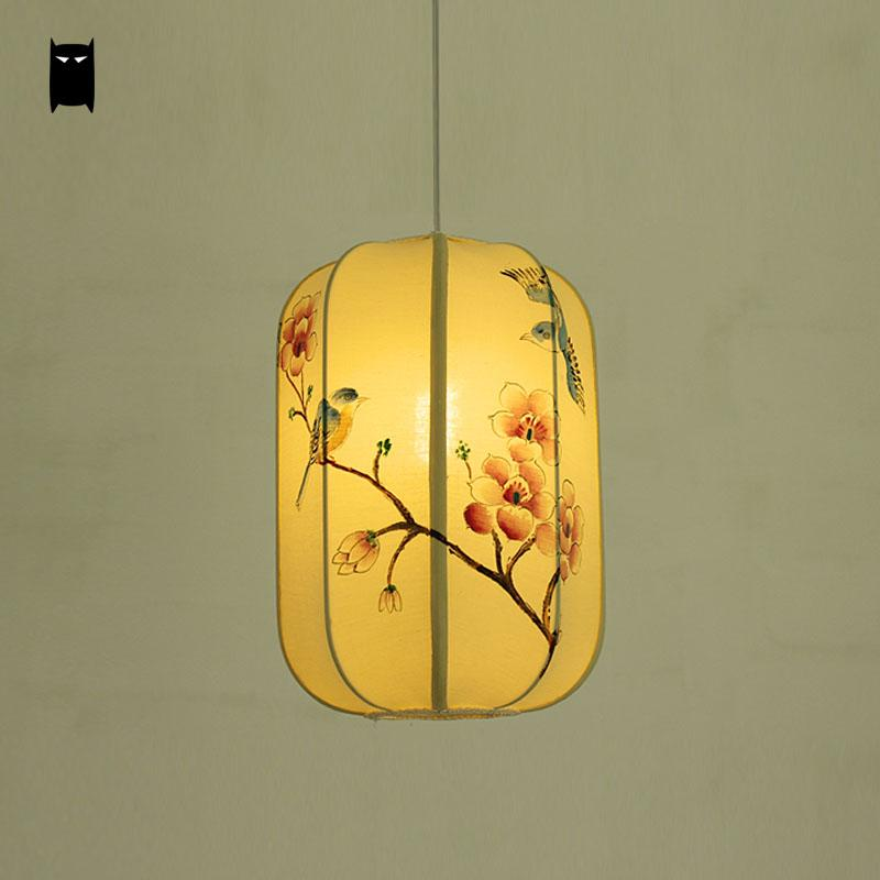 Hand Painted Customized Iron Fabric Lantern Shade Pendant Light Fixture Cord Chinse Style Art Deco Hanging Ceiling Lamp Tea Room