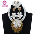 Beautiful White Shell African Jewelry Beads Set Nigeria Wedding Flower Necklace Jewelry Bead Set For Lady  Free Shipping WD442