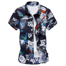 Men Floral Shirt Hawaii Style Summer Short Sleeve Slim Fit Big Size casual fashion Flower Print Male Plus Size 6XL 7XL Shirts