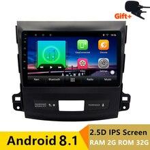 9 «2 + 32G 2.5D IPS Android 8.1 dvd de voiture lecteur multimédia GPS pour Mitsubishi Outlander 2006-2012/ peugeot 4007 navigation radio
