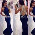Sexy Satin Halter Beading Royal Blue Mermaid Long Evening Dresses 2016 See Through Back Floor Length Evening Dress SML30203