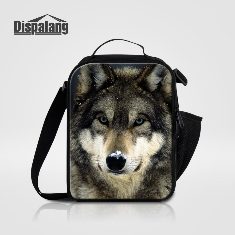 Dispalang Portable Insulated Lunch Bag Wolf Animal 3D Prining Boys Thermal Food Picnic Bags for Men kids Cooler Lunch Box Tote