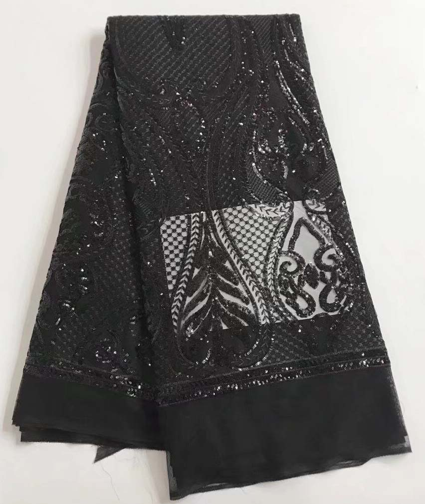 2017 African Lace fabric with Sequins High Quality black Sequin Fabric for dresses