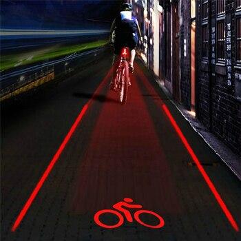 2 láser + 5 LED Logo proyección bicicleta advertencia MTB luz bicicleta luz trasera haz de seguridad lámpara de advertencia