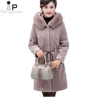 Winter Coat Women Long Black Fur Collar Faux Fur Jacket Fashion New Fur Hooded Coat Warm Parka Loose Overcoat Women Jacket 5XL