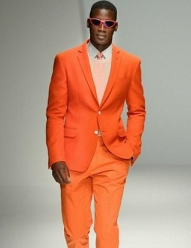 Notch Lapel Groom Tuxedos Orange Mens Suits For Wedding Party Prom Wear 2 Pieces Suits Sets (Jacket+Pants+Tie)
