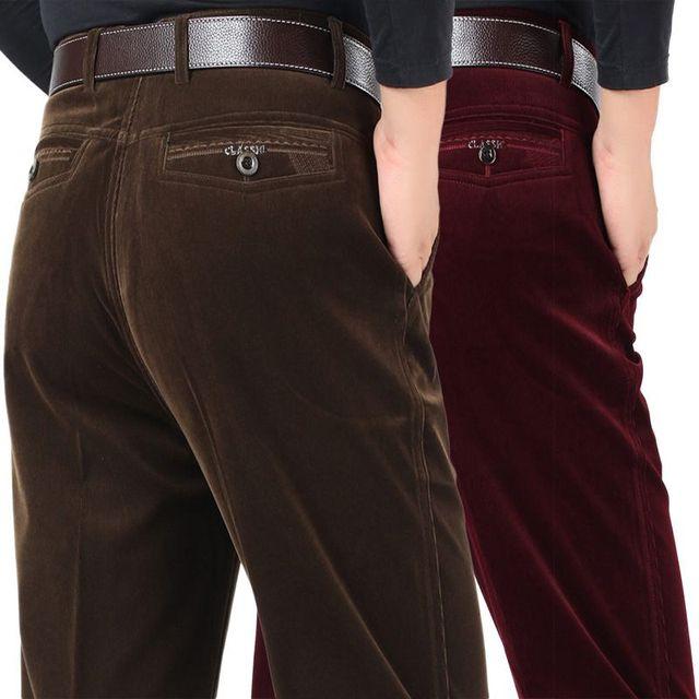 Hombres pantalones de Pana de Invierno esquilan los pantalones calientes Más El tamaño de espesor de terciopelo de mediana edad masculina casual de negocios pantalones elásticos flojos 10140