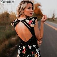 Elegant Flower Print Lace Backless Maxi Dress Sexy Deep V neck 2018 Summer Dress Women Boho Asymmetrical Long Dress Vestidos