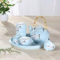 Japonesa sakura cereja placa bandeja kungfu tea set bule de cerâmica bule de chá xícara Pu'er oolong cerimônia do chá teaware presente da casa