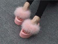 Qulity Fur Flip Flops Women Sweet Sandals Ostrich Feathers Slippers Summer Platform Thongs Beach Slippers