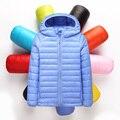2-12Y Ultra light детские Девушки парни пуховик Настоящее 90% утка вниз пальто зима теплая детская одежда с капюшоном и карман
