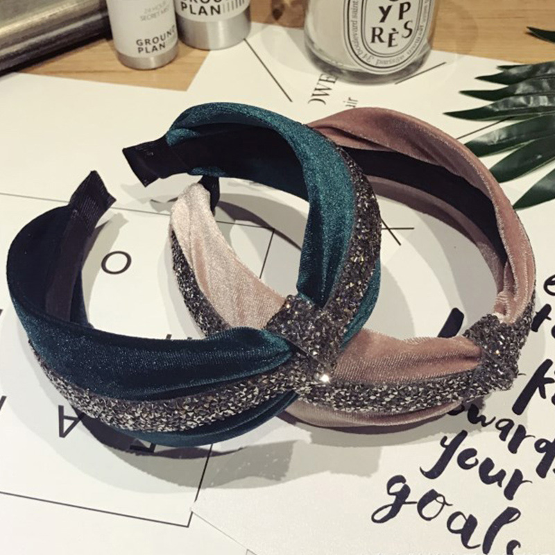 Korea Satin Diamond Super Flash Middle Knotted Hairbands Solid Boutique Hair Accessories Hairband Crown Headbands For Girls Girl's Accessories Girl's Hair Accessories