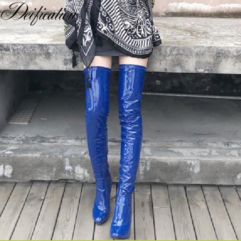 Bota Feminina Stylish Over The Knee Boots Super Sexy Clear Square Heel Winter Shoes Shiny Patent Leather Ladies Thigh High Boots