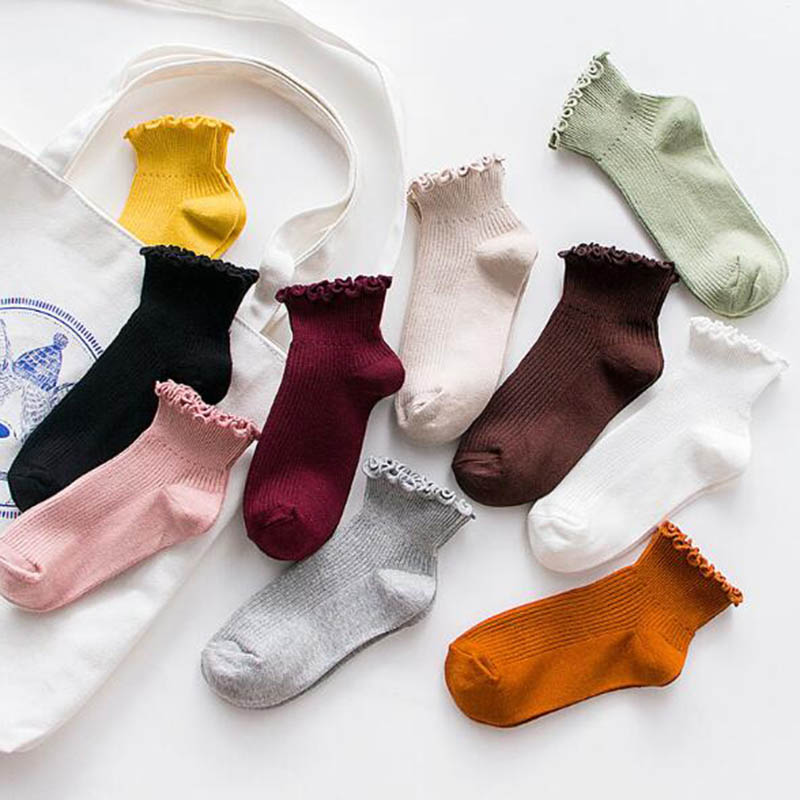 Soild Cotton Lace Ruffles Women   Socks   Lovely Frilly Edge Girls Harajuku   Socks   Spring Female Summer Autumn   Socks   Korean Style
