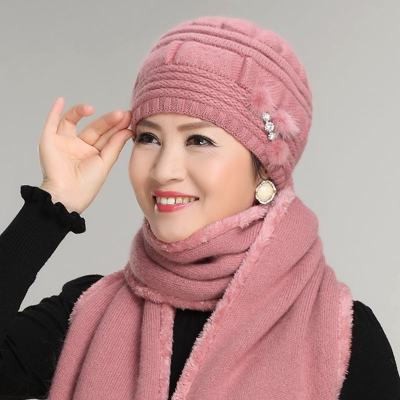 Kagenmo Thick Rabbit Fur Knit Cap Scarf Twinset The Elderly Women's Autumn And Winter Yarn Female Winter Hat Perimeter Scarves