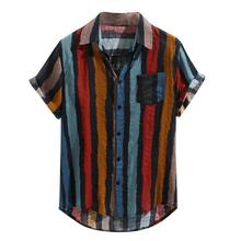 Summer Men Shirt Cotton Pocket Short Sleeve Turn-Down Collar Multi Color Stripe
