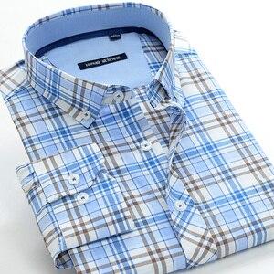Image 1 - 5XL 6XL 7XL 8XL 9XL 10XL artı boyutu klasik erkek ekose gömlek iş rahat moda pamuk uzun kollu gömlek erkek marka giyim