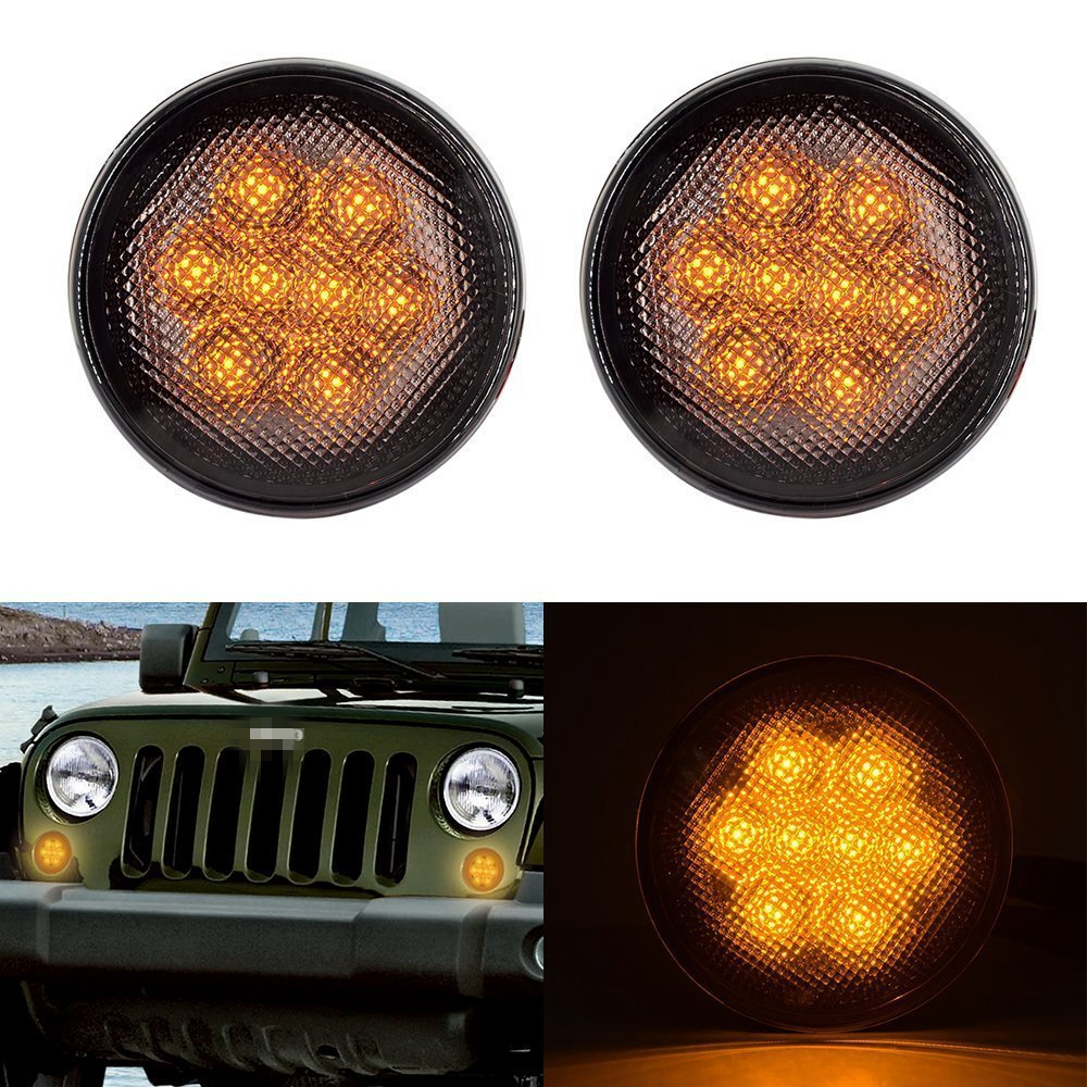Smoke Lens Yellow LED Front Replacement Turn Signal Light Assembly for 2007-2016 Jeep Wrangler JK JKU wrangler smoke lens amber led front replacement turn signal light fender side marker light for 2007 2017 jeep wrangler jk jku