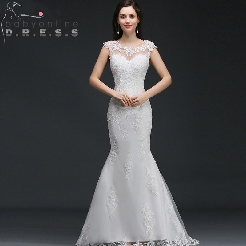 Robe De Mariage Sexy Cap Sleeve Button Back Mermaid Wedding Dresses Elegant Appliques Lace Bridal Gowns