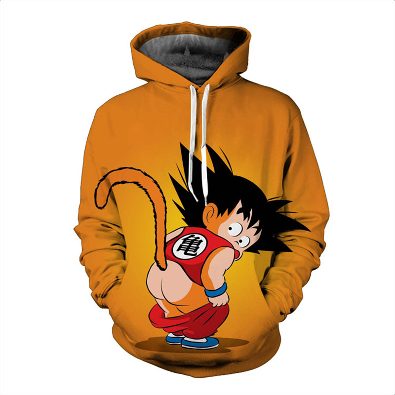 New Japanese Anime 3D Goku Saiyan Print Dragon Ball Z Long Sleeve Sweater Hoodie