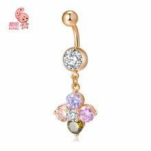 New Fashion Woman Flowers Bell Button Rings Navel Body Belly Piercing Nombril Body Jewelry for Women Navel Piercing 185