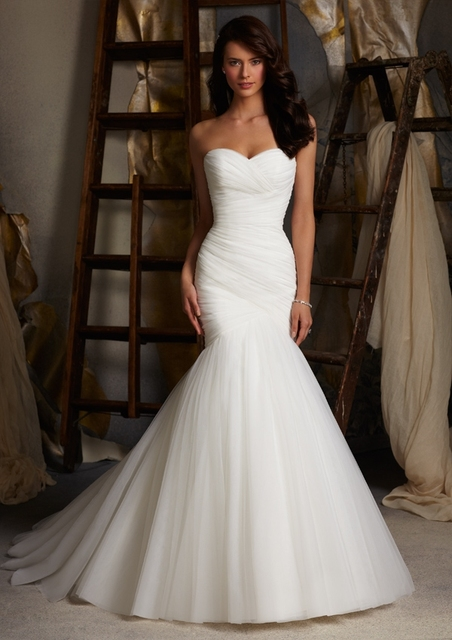 V001 High Quality Tulle Mermaid Wedding Dresses Corset Lace Up Back Cheap Wedding Gown With Bridal Veils Free