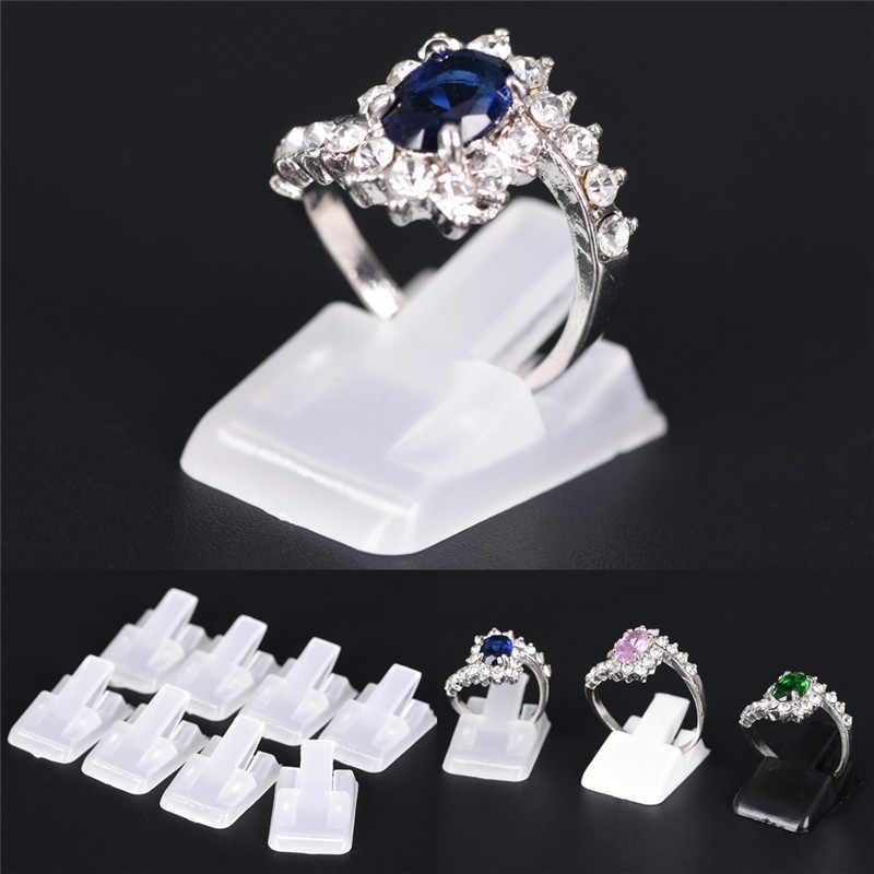 10 шт/лот кольцо шоу пластиковый Матовый держатель дисплея ювелирных изделий для кольца, подставка для украшения