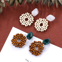 AENSOA 2019 New Earrings Vintage Wooden Beads Drop For Women Jewelry Summer Square Resin Ethnic Statement Gift
