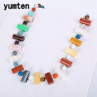 Yumten Colorful Crystal Necklace Women Jewelry Beads Chain Original Charm Female Power Gemstone Mujer Collane Yoga