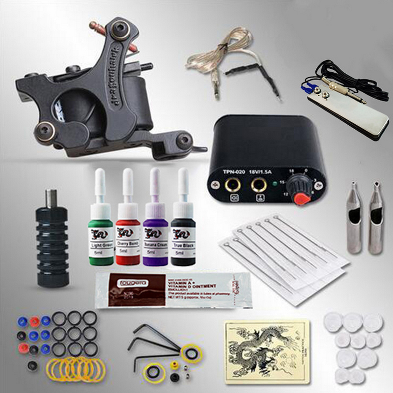 Complete Tattoo kits 10 wrap coils 1 guns machine 4 colors black tattoo ink sets power supply disposable needle tattoo kits complete tattoo kits pro gun machine power pedal 10 color ink sets power supply disposable needle grip tip quality new arrival