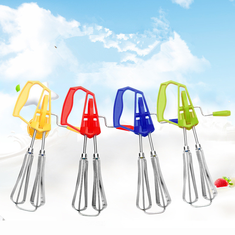 144pcs/lot Manual Rotate Egg Beater Stainless Steel Double Heads Egg Stirrer Coffee Milk Shaker Cream Frother Blender Mixer
