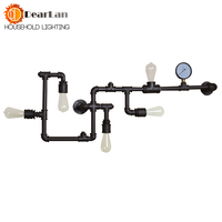 Wholesale Price Water Pipe Wall Lamp Vintage Lights Loft Iron Wall Lamp Perfectly Matching Edison Incandescent Light Bulb(BC 50)
