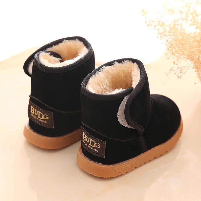 Kış Çocuk pamuk kalın kar botları sıcak tutmak düz topuklu bebek ayakkabıları çocuklar düz rahat kaymaz çizmeler erkek kız
