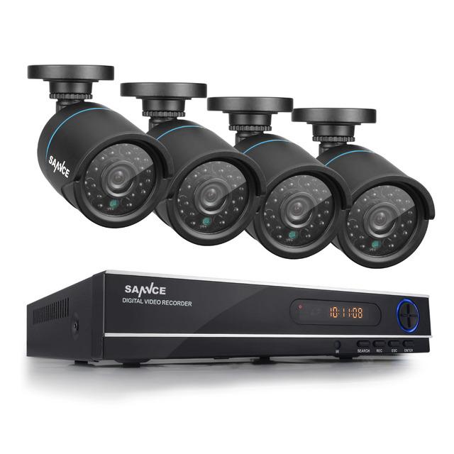 1080n sannce hd 720 p 8ch cctv sistema de gravador de vídeo dvr 4 PCS Câmera 1.0MP Vigilância 1200TVL IR CCTV kits para Casa segurança