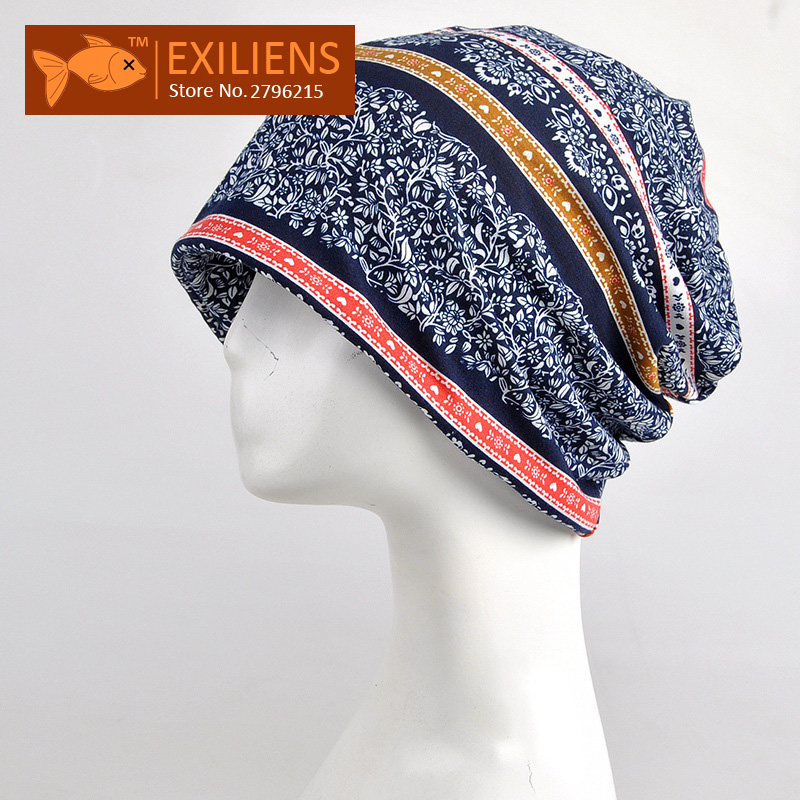 [EXILIENS] 2017 New Autumn Winter Watch Cap Beanies Caps Cotton Hat For Women Men Scarf Neckline Dual Knit Hats Skullies Unisex 35colors silver gold soild india scarf cap warmer ear caps yoga hedging headwrap men and women beanies multicolor fold hat 1pc