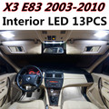 13pcs X free shipping Error Free LED Interior Light Kit Package for BMW X3 E83 accessories 2003-2010