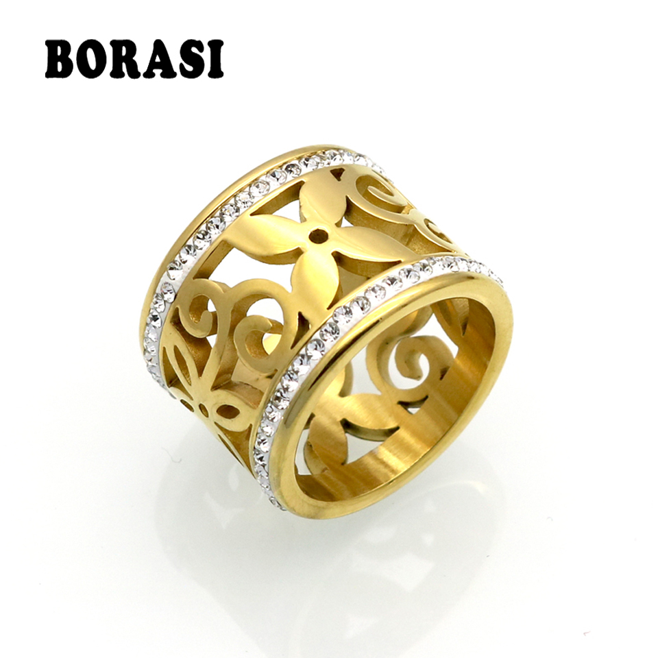 BORASI New Crystal Rings For Women White Rhinestone Stainless Steel Gold Color Wedding Female Flower Rings Teen Jewelry 1