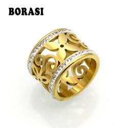 BORASI-anneaux en cristal pour femmes, nouvelle collection, strass blanc, acier inoxydable, couleur or, anneaux à fleur, bijoux d'adolescents